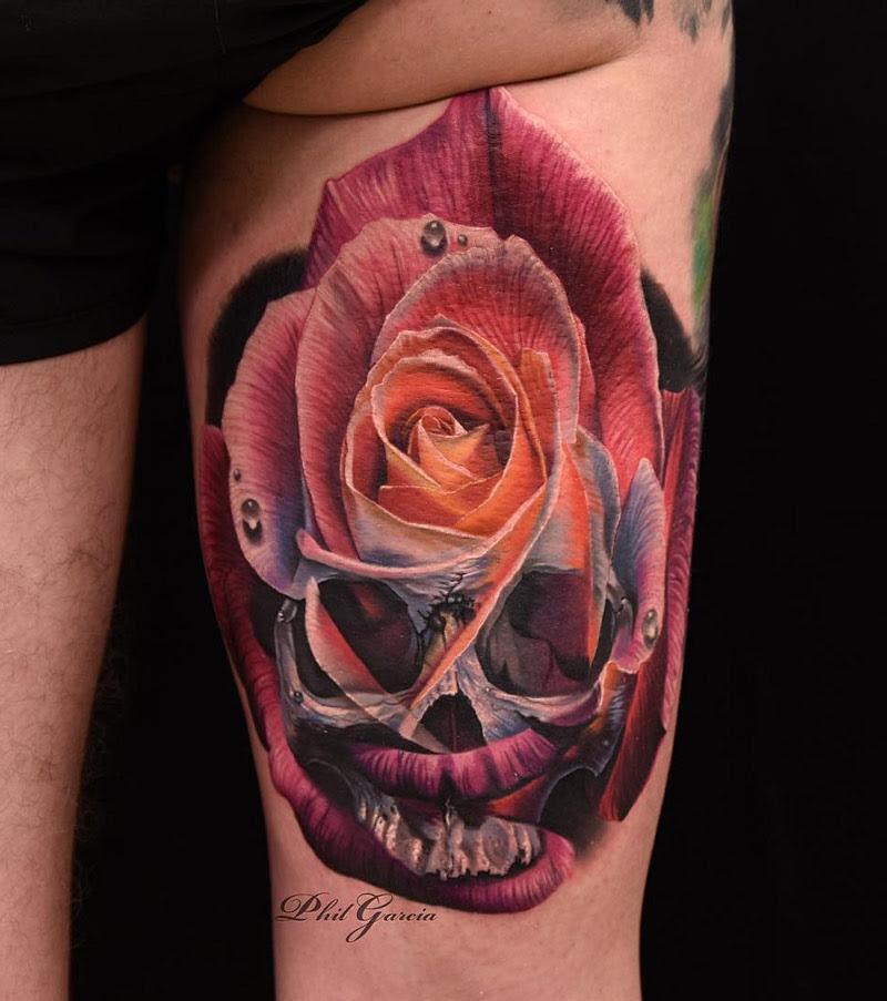 Skull Rose Merged Together Best Tattoo Design Ideas