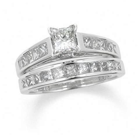 1 CT. T.W. Princess Cut Diamond Bridal Set in 14K White