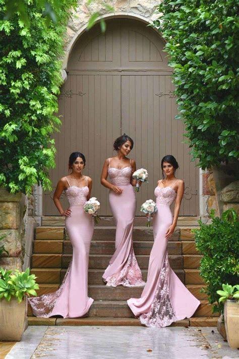 2019 Pink Mermaid Bridesmaid Dresses Lace Spaghetti Straps
