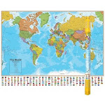 Round World Products RWPHM01 Hemispheres Laminated Map World