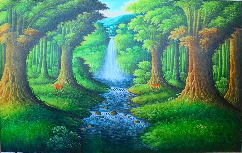 Lukisan Pemandangan Air Terjun Di Hutan Cikimm Com