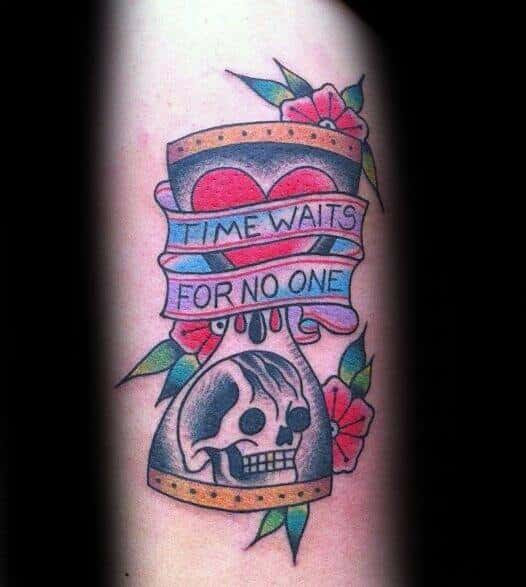 40 Time Waits For No Man Tattoo Designs For Men Quote Ink Ideas