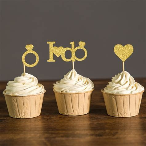 Gold or Silver Glitter I DO Wedding Cupcake Toppers Bridal