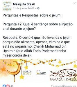 Mesquita Brasil - injeção anal no Ramadã