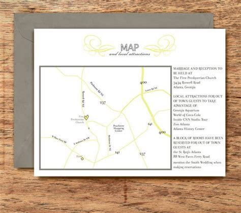 Wedding Invitation MAP and directions card Chic, Classy