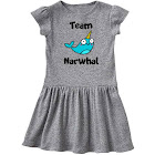 Inktastic Team Narwhal Toddler Dress, Toddler Girl's, Size: One size, Gray