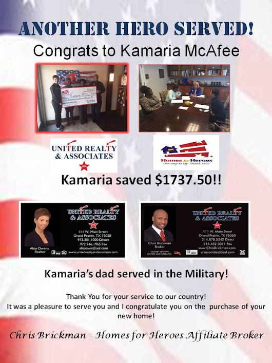 Another Hero Served! Congrats to Kamaria McAfee | United Realty & Associates