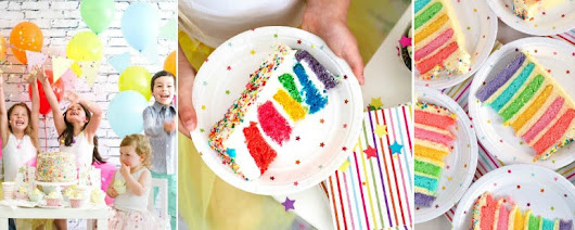 Easy peasy rainbow party cake recipe | Stylish Children's Party Supplies at julie rose party co