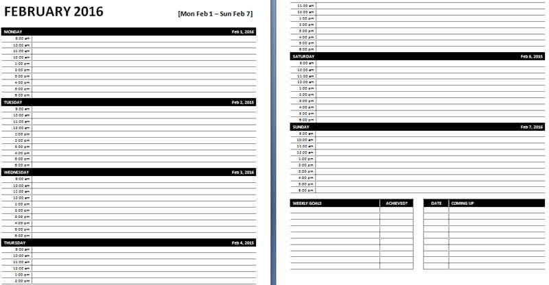 Daily & Weekly MS Word Planner Templates   Office Templates Online