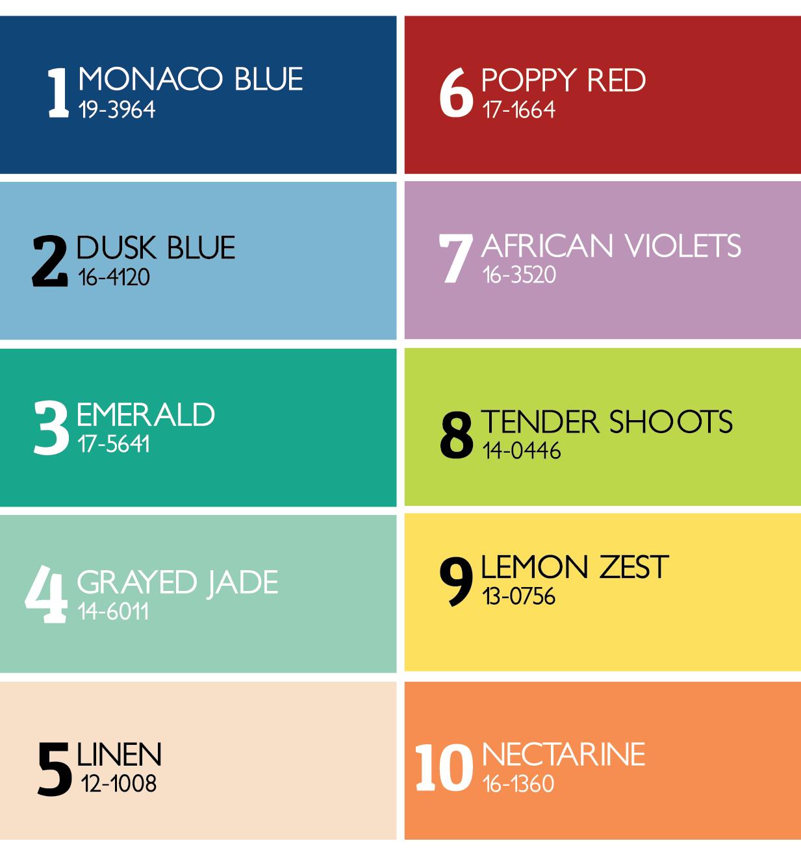 Pantone Fashion Color Palette - Spring 2013