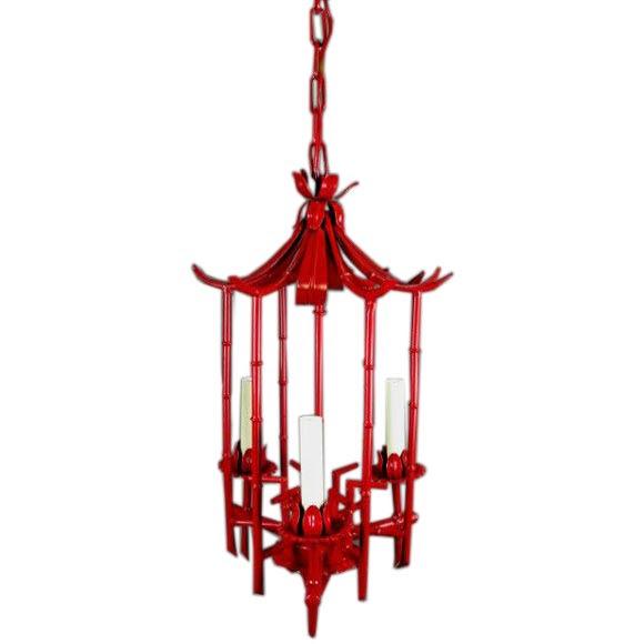 Red   Tole Pagoda lantern
