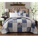 DaDa Bedding Bohemian Denim Blue Elegance Patchwork Cotton Quilted Bedspread Set (JHW-660) Queen