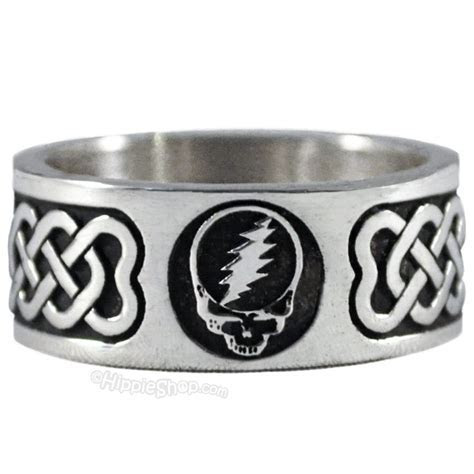 Grateful Dead   Steal Your Face Sterling Silver Ring on