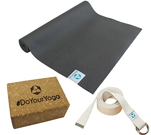 Yoga kit: yoga mat of TPE 183 x 61 x 0.3 cm (black) includes cotton yoga belt and cork block