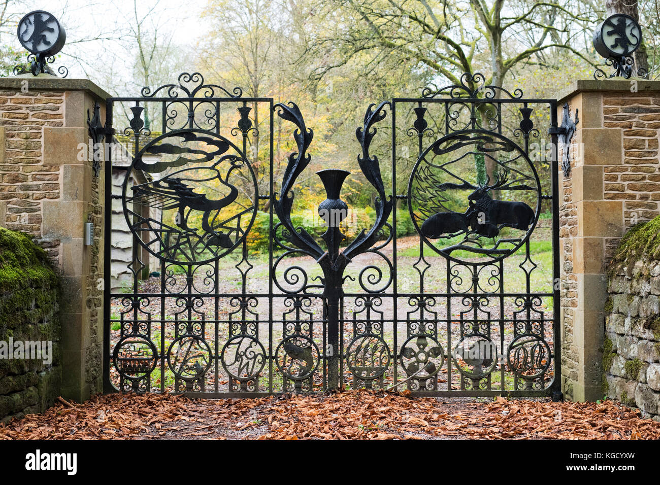 Decorative Wrought Iron Gates With A Distinctive Scottish Theme In
