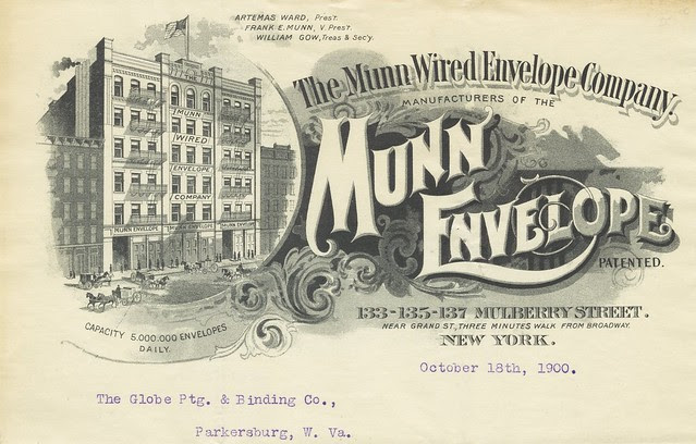 oversized business letterhead with ornate fonts and illustrated company premises