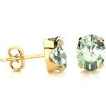 2 Carat Oval Shape Green Amethyst Stud Earrings in 14K Yellow Gold Over Sterling Silver by SuperJeweler