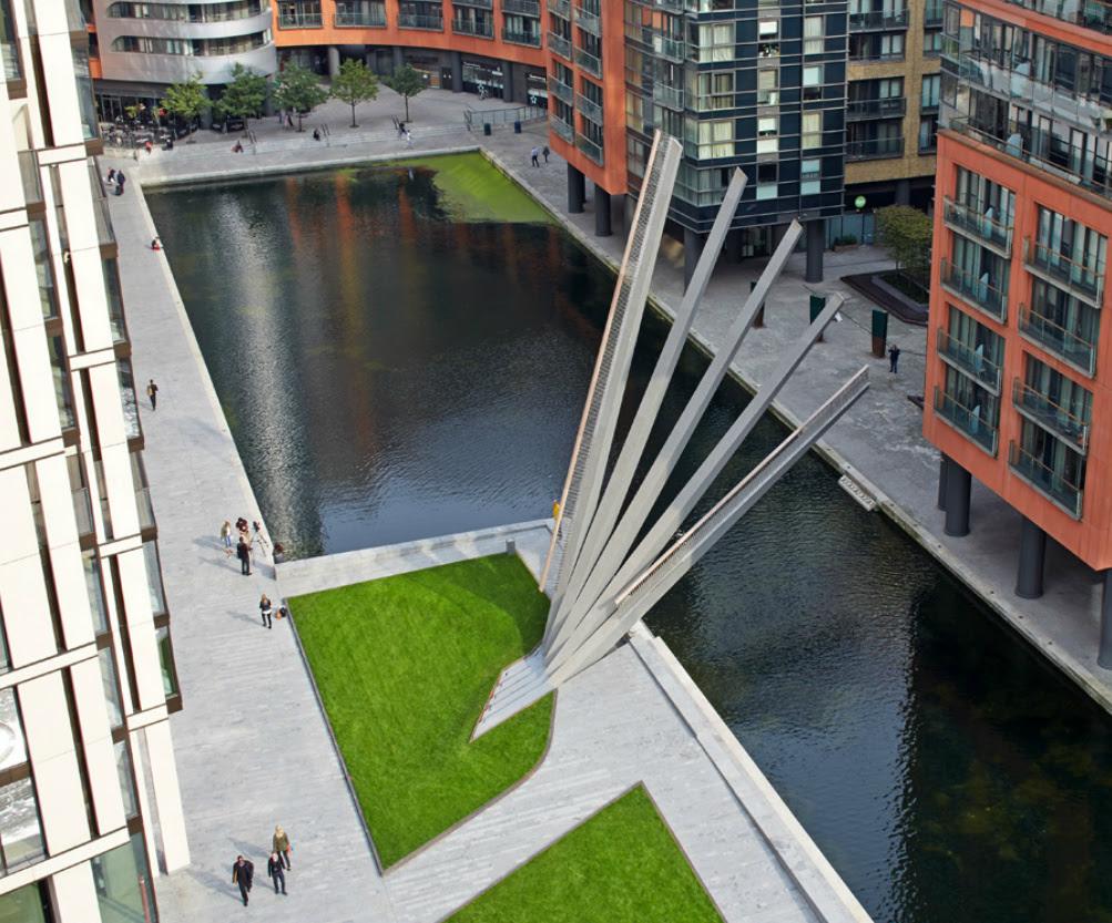 Movable Footbridge in Paddington, London Opens and Closes Like a Fan bridges
