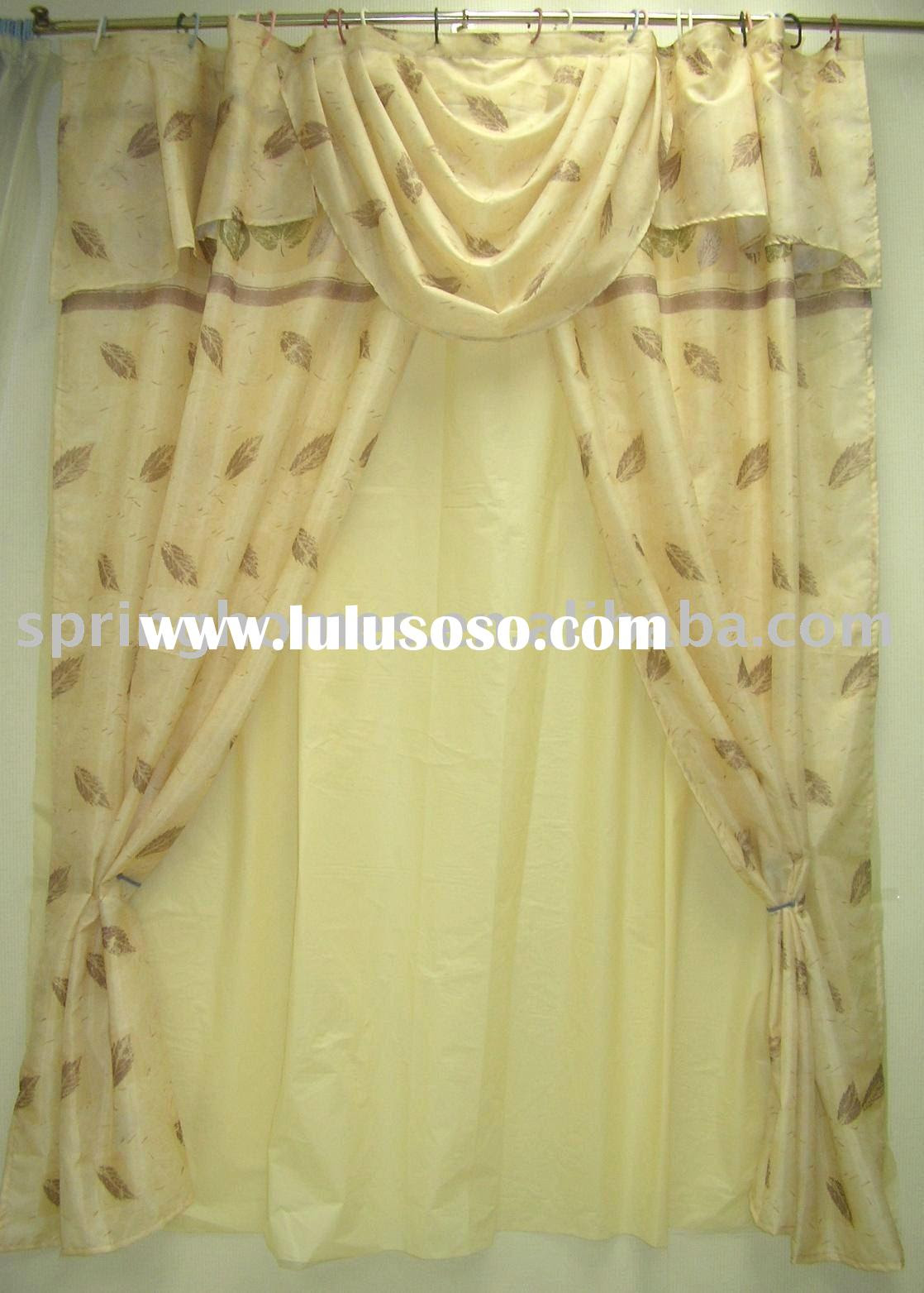 double swag shower curtain with valance for sale - Price,China
