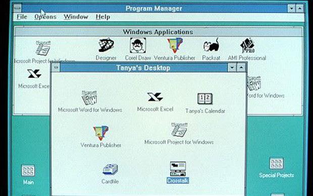 Em 1990, o Windows começa a apresentar os traços das versões posteriores. O Windows 3.0 foi a primeira versão que teve sucesso comercial, com milhões em vendas no primeiro ano. O sistema era cada vez mais usado no trabalho e também começou a incluir jogos como Paciência e Campo Minado (Foto: Divulgação/Microsoft)