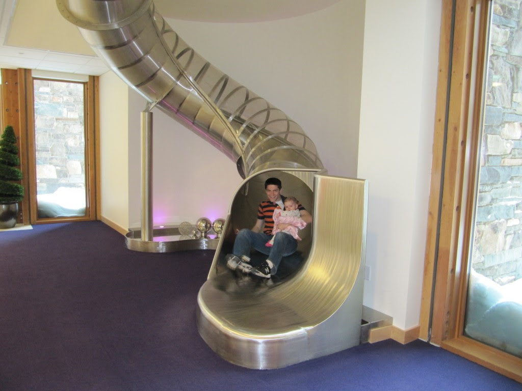 """the slide in the """"Heaven"""" building. Cambee's first slide too. Big day for her :)"""