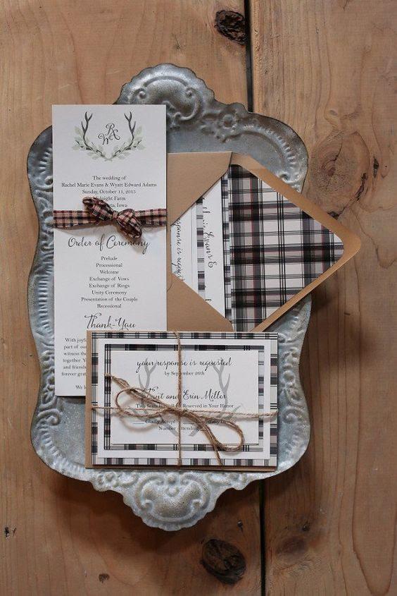 elegante plaid Hochzeit invitaitons mit Garn-und Kraftpapier für eine Rustikale Hochzeit