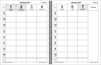 Weekly calendar 2017 for PDF - 12 free printable templates