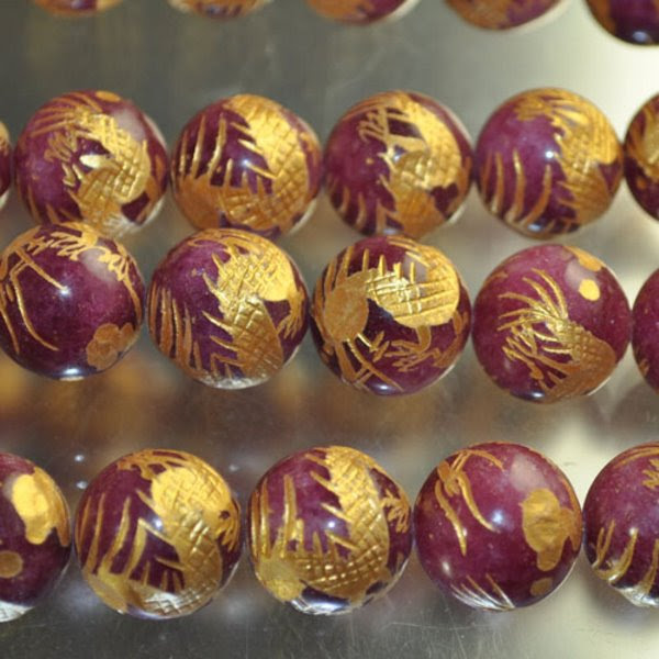 s33645 Stone Beads - 16 mm Carved Rounds - Dragon - Ruby Jade - Gold (1)