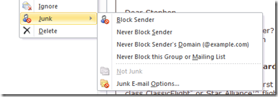 Outlook 2010 Safe Sender