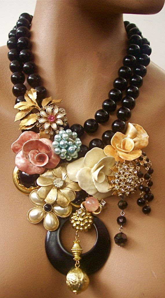 Wow! Loving this vintage collage of a jeweled necklace!