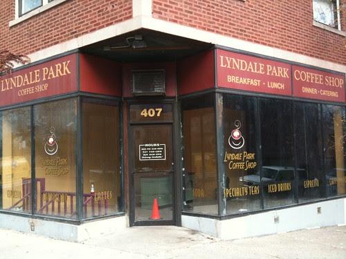 Fake cafe, movie set, Rogers Park