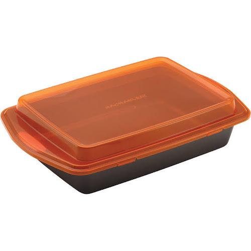 Rachael Ray Yum-O! Oven Lovin' - Mold with cover - 9.02 in x 12.99 in - non-stick - square - orange
