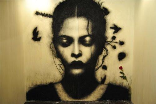 Peinture par l'artiste italien Omar Galliani