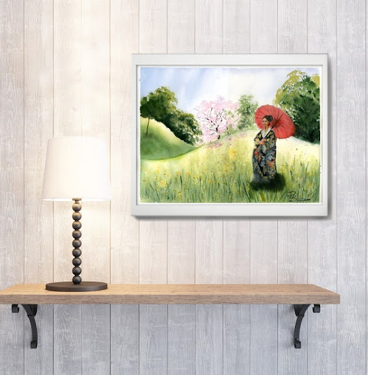 Meadow painting Original watercolor Japanese woman with umbrella Nature landscape watercolour art gift idea wall art decor