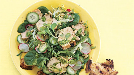 Grilled Chicken Salad with Radishes, Cucumbers, and Tarragon Pesto Recipe
