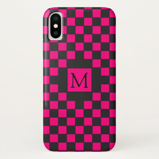 Black and Hot Pink Checkerboard Pattern Monogram iPhone X Case