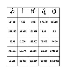 Place Value Bingo Thousands to the Thousandths | Place value ...