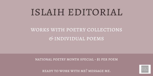 fidaislaih : I will edit individual poems and poetry collections for $5 on www.fiverr.com