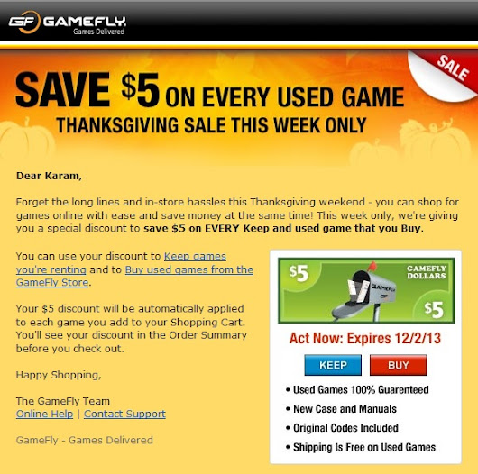 GameFly Thanksgiving Sale 2013