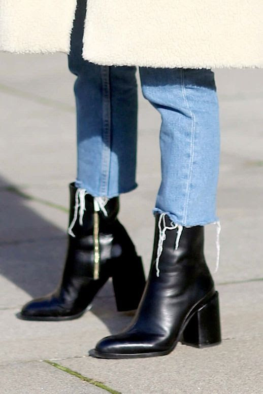 Le Fashion Blog Fall Blogger Style Shearling Coat Cropped Raw Hem Jeans Black Leather Ankle Boots Via We The People