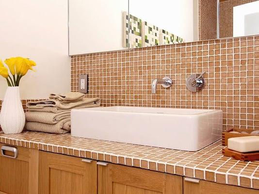 Ginger Recycled Glass Mosaic Tile on bathroom backsplash and ...
