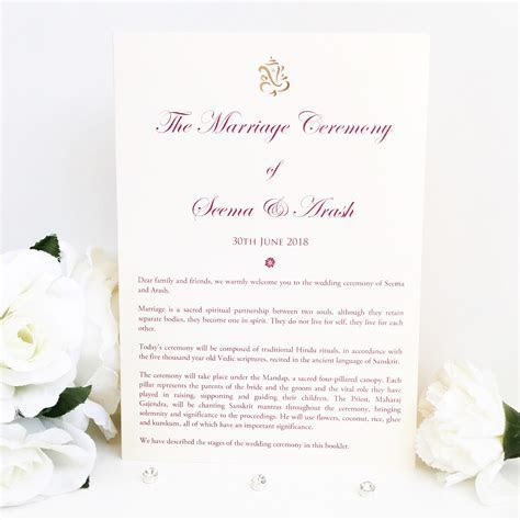 Hindu Marriage Ceremony Order of Service Cards
