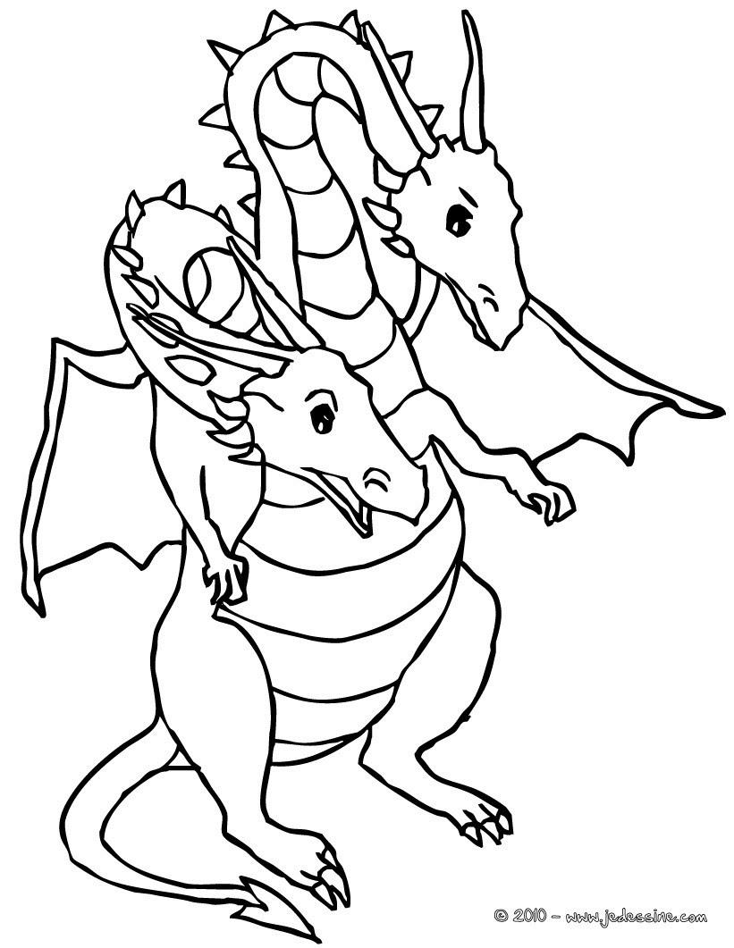 Dragon assis dragon double tªte  imprimer Coloriage Coloriage GRATUIT Coloriage PERSONNAGE IMAGINAIRE Coloriage