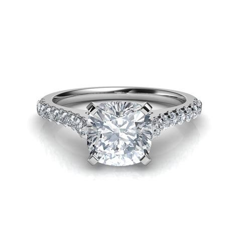 Cathedral Cushion Cut Diamond Engagement Ring Natalie Diamonds