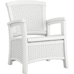 Suncast Elements BMCC1800W Resin Wicker Design Club Chair with Storage, White by VM Express