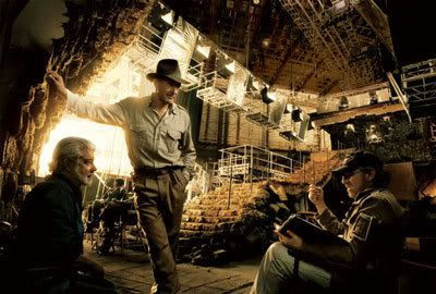 Harrison Ford chatting with executive producer George Lucas and director Steven Spielberg on the Indy film set in Los Angeles.