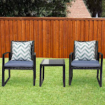 3-Piece Bistro Set Black Wicker Furniture - Two Chairs with Glass Coffee Table Lunar Outdoor (Color: Gray)
