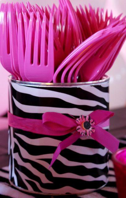 Decoração // Festa // Porta Talher // Animal Print // Cores: Pink, Preto e Branco // Chá de Casa Nova // Chá de Cozinha // Chá de Panelas // DIY // Lindo <3