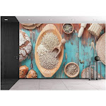 Grain Breads and Cereals Various Kinds of Bread Bread Rolls and Seeds for Baking - Wall26 - turquoise,