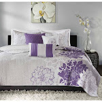 Madison Park MP13-2312 Lola 6 Piece Quilted Coverlet Set, Full/Queen, Grey/Purple